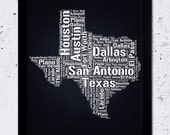 Texas Typographic map, Texas Print, Cities and Places, Navy Blue, Black and White text, Home Wall Office Decor, Downloadable Digital File