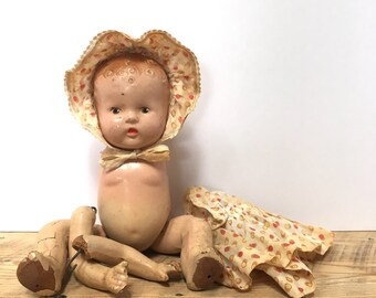 Baby Doll Babydoll Painted Face Composition Molded Hair Parts Antique Clothes Creepy Cute Display Decor Vintage Art Materials Head Arms Legs