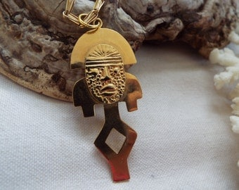 brass Inca Peruvian  Mayan Aztec mask warrior pendant necklace