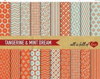 80% off Scrapbooking Digital Paper Pack Tangerine Mint Paper Printable Background Sheets