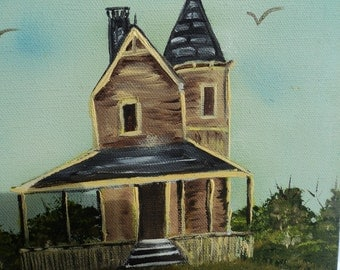 Small original oil on canvas/hand painted/ brown Victorian home/ charcol roof/ yellow trim/farmhouse