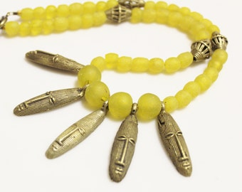 African Brass Masks Necklace, Yellow Ethnic Necklace, Statement Jewelry, African Beaded Necklace