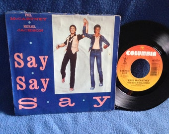 "RARE, Vintage, Paul McCartney, Michael Jackson - ""Say Say Say / Ode To A Koala Bear"", 7"" 45 RPM Vinyl Single, Original Press, Pop Rock"