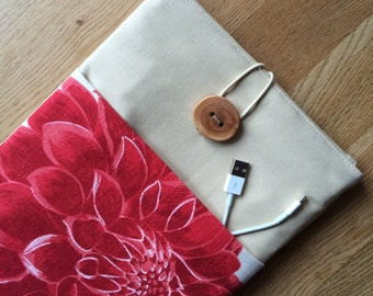"11 inch macbook air sleeve, macbook case cover with front pocket, eco friendly - ""Red_flower"""