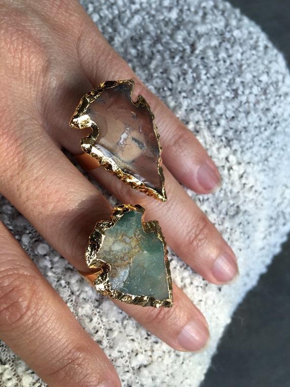 Arrowhead rings, jasper rings boho jewelry
