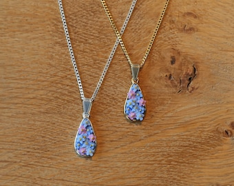 Forget me Not Tear Drop Pendant Necklace