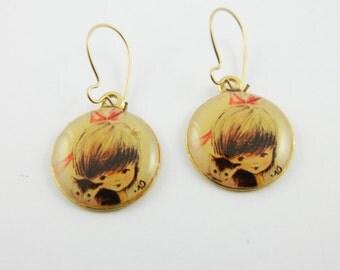 70s Folk Art Earrings - Girl with Kitten