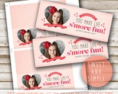 Valentine's Treat Bag Topper: S'more Fun, Kids Valentines Classroom Card, Photo, Printable
