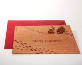 pop up card wood with envelope - combi