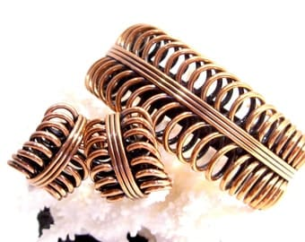 Renoir Mid Century Modern Copper Double Coil Cuff Bracelet and Matching Clip Earrings