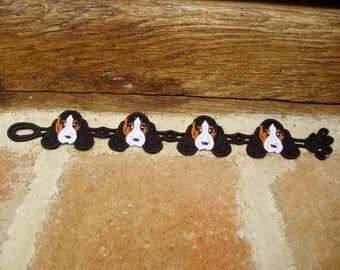 Hound/Spaniel Dog Bracelet-Tri Coloured-Lace Bracelet-Machine Embroidered-Novelety