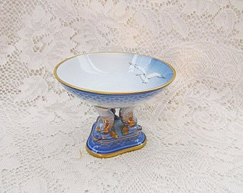 Bing and Grondahl sea gulls Denmark porcelain footed compote bowl or candy dish