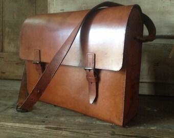 Leather Postal Messenger Bag Satchel Telegraph Postal Cigar Brown Tool Engineer Case