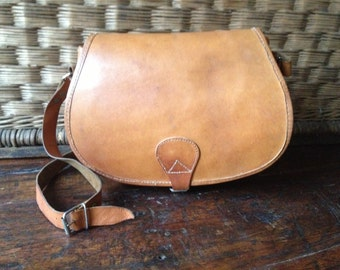 Honey Brown Leather Purse Crossbody Saddle Bag with Front Flap Cartridge Bag