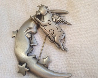 JJ Cow Jumping over the Moon Brooch