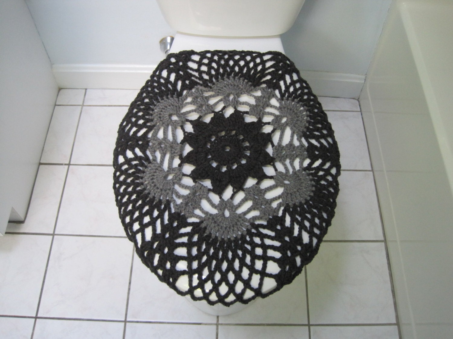 Crochet Toilet Seat Cover Dark Grey True Grey TSC9F