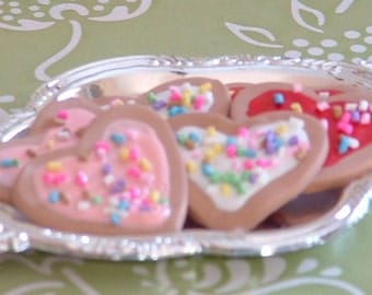 Six Valentines Cookies on Silver Tray for American Girl Dolls