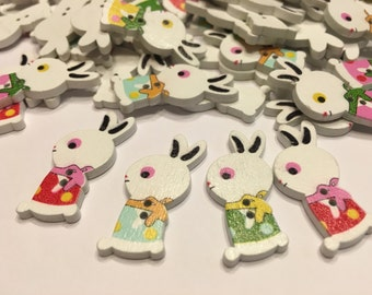 5 assorted wood bunny button mix, 14 x 30 mm (B3)