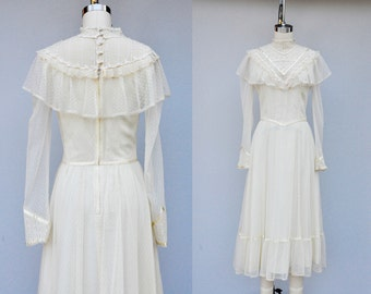 Gunne Sax Lace Dress Jessica San Fransico Dress - Ivory Lace - Vintage Wedding - Bride Bridal Boho Hippie Maxi Dress Victorian Size XS - S