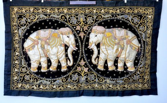 Large Burmese Elephants Tapestry Wall Hanging Collectible