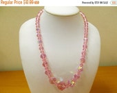 ON SALE Vintage Baby Pink Iridescent Crystal Beaded Necklace Item K # 2764
