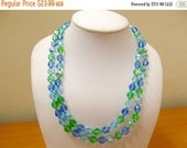 ON SALE Vintage Long Iridescent Blue and Green Crystal Necklace Item K # 1538