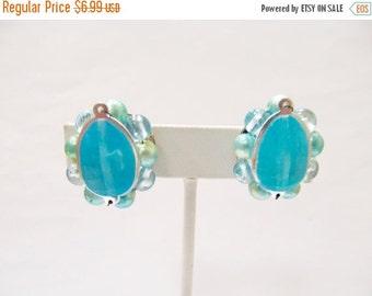 ON SALE Vintage Hong Kong Aqua Blue Beaded Cluster Earrings Item K # 2697