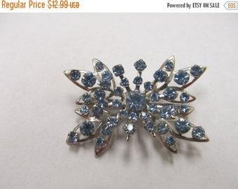 On Sale Vintage Prong Set Blue Rhinestone Brooch ItemK # 363