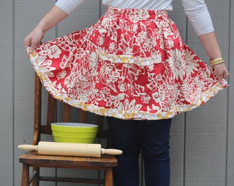 Red Floral Ruffled Apron