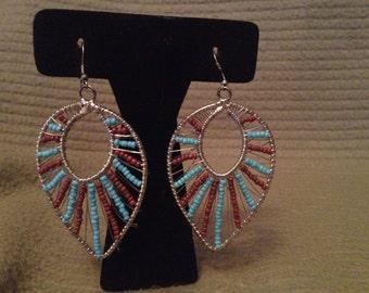 Vintage Silvertone Brown and Blue Beaded Dangle Earrings, 2 1/2'' Long