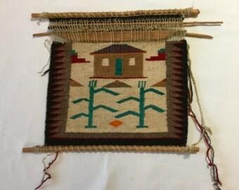 Vintage Native American Sampler on Loom  Blue Corn Navajo Rug  Wall Hanging Blanket
