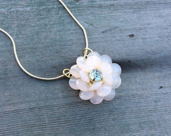 Rose in Bloom Necklace//Cottage Chic/Mod/Garden