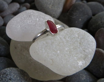 Size 7.5, Cherry Red Sea Glass Ring, Sterling Silver