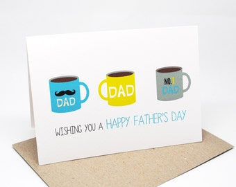 Father's Day Card - Coffee Mugs For Dad - HFD023 / Wishing you a Happy Father's Day Card