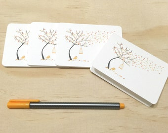 Mini Gift Card Pack - Autumn Fall Tree - Set of 4 Rounded White Small Cards - GC06