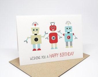 Birthday Card Boy - 3 Robots - HBC192 / Wishing you a Happy Birthday