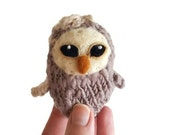 Mini Owl Plushie, Knitted and Felted Owlet, 'Pumpkin'