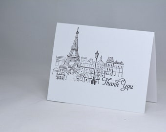 6 Paris Thank You Cards in Black and White