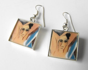 Glass Tile Dangle Earrings - Handmade Glass Tile Earrings - Picasso Art Tile Earrings - Square Drop Earrings by ElleBellleArt