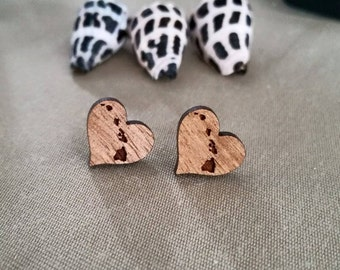 "Koa Heart Earring with Hawaiian Island Chain ""Aloha Hawaii"" Earring"