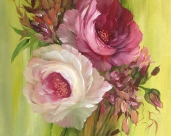 Sale - Country Roses Pink oil painting