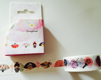 Japanese Geisha and Fans Boxed Washi Tape