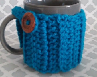 Mug Cozy - Mug Cozies - Cup Cozy with wooden button - Cup cozies - handmade crochet