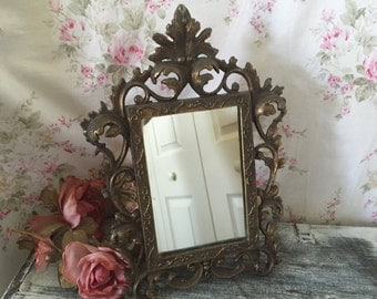 Antique Cast Iron Mirror - Art Nouveau - Fabulous detailing  - Tabletop mirror - Accent Mirror - Easeled Mirror - Vanity Dresser Mirror
