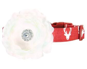 Christmas Reindeer Dog Collar and Flower Set; Holiday Flower Dog Collar: Reindeer