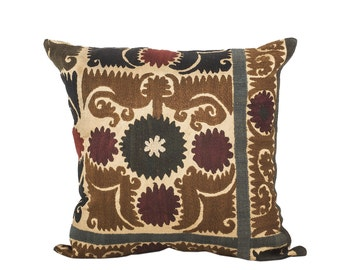 18 x 18 Pillow Cover Suzani Pillow Vintage Suzani Pillow Hand Embroidered Pillow Uzbek Suzani Pillow FAST SHIPMENT with ups or fedex - 07561