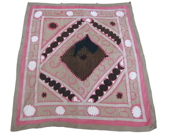 Suzan Vintage Suzani Old Embroidery Suzani Wall Hanging Uzbek Suzani Table Cover Ethnic Suzani 3.81' x 4.07' FAST SHIPMENT with ups - 166