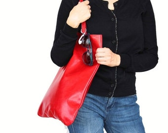 Red Tote bag, leather tote bag, tote bag