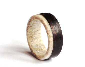 Ebony Mens Ring, Antler Men Ring, Wood  Wedding Band, Unisex Ring, Teal Ring