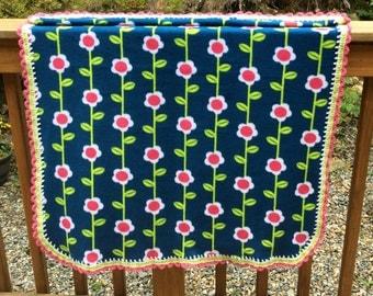 Bright Pink Flower, Single Layer Fleece Baby Blanket with Crochet Trim